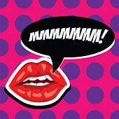 Sexy Red Lips And Open Mouth With Comic Speech Bubble. Beautiful Mouth With Speech Bubble. Female Li poster