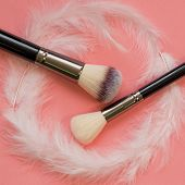 Makeup Brush Set, Professional Makeup Tools. Soft And Pleasant Brush For Makeup, Concept. Brushes An poster