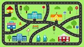 Play Mat For Kids. Vector Cartoon City Car Track. Cityscape With Buildings, Police Station, School,  poster