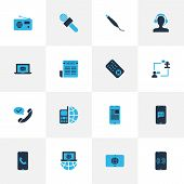 Communication Icons Colored Set With Operator With Customer, Communication Console, Article On Phone poster