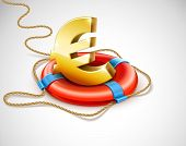 Life buoy rescue ring helps euro currency sign. Financial crisis concept. Vector illustration. EPS10