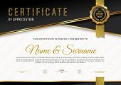 Certificate Template With Guilloche Pattern And Luxury Golden Elements. Diploma Template Design. Vec poster