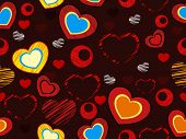 Seamless love pattern with colorful heart shapes  on maroon color background for Valentines Day and other occasions.