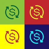 Color Return Of Investment Icon Isolated On Color Backgrounds. Money Convert Icon. Refund Sign. Doll poster