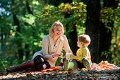 Happy Son With Mother Relax In Autumn Forest. Mother Love Her Small Son Child. Spring Mood. Happy Fa poster