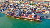 Container Shipping Boat At Dock Yard Main Logistics System Of Transportation Of Cargo Container. poster