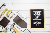 Labor Day Background Concept. Flat Lay Of Construction Blue Collar Handy Tools And White Collars Ac poster