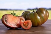 Group Of One Whole One Half One Slice Of Fresh Tomato Primora With Green Wheat Field poster