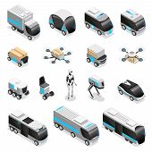 Automated Robot Delivery Isometric Icons Collection With Cute Remote Controlled Humanoid Quadruple D poster
