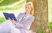 Female Self Improvement. Girl Lean On Tree While Relax In Park Sit Grass. Self Improvement Book. Bus poster
