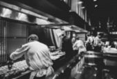 Motion Chefs Of A Restaurant Kitchen, Chef Motion Make Food Black And White poster