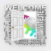 A door opens to show a world with diverse people around it, surrounded by the word Welcome in differ