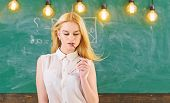 Sexy Teacher Concept. Woman With Long Hair In White Blouse Stands In Classroom. Lady Strict Teacher  poster
