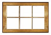 Wooden Window Frame. Old Shabby Window Frame On White Background poster