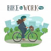 Bike To Work Day. Woman In Formal Clothes On Bike With Basket With Lettering. Businesswoman With Bag poster