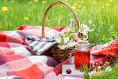 Cherry Juice In Mason Jar And A Picnic Basket With Food And Flowers In The Background. Outdoor Picni poster