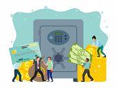 Bank Safe And Vault Banner Vector Illustration, Metallic Iron Safe Door. Gold, Cash, Currency, Finan poster