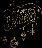 Merry Christmas Translation Feliz Navidad Golden Metallic Black Background Illustration poster