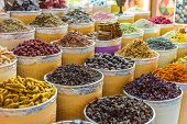 Spices And Herbs On The Arab Street Market Stall poster