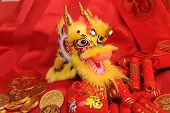 Chinese New Year Ornaments--Traditional Dancing Dragon,golden coin and Money Red Packet,red firecrac