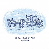 Sketchy London Royal Carriage Clipart Elements Set. Famous Historical British Symbol poster