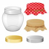 Collection Of Different Objects. Glass Jar With Lids. Realistic Style. Objects Isolated. Vector Illu poster