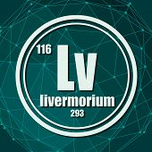 Livermorium Chemical Element. Sign With Atomic Number And Atomic Weight. Chemical Element Of Periodi poster