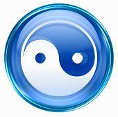 Yin Yang Symbol Icon Blue, Isolated On White Background.