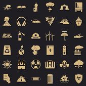 Danger Disaster Icons Set. Simple Style Of 36 Danger Disaster Vector Icons For Web For Any Design poster