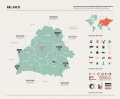 Vector Map Of Belarus .  High Detailed Country Map With Division, Cities And Capital Minsk. Politica poster