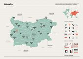 Vector Map Of Bulgaria .  High Detailed Country Map With Division, Cities And Capital Sofia. Politic poster