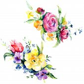 Bouquets Floral Botanical Flowers. Watercolor Background Illustration Set. Isolated Bouquet Illustra poster