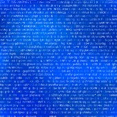 White Abstract Complicated Crypto Symbols On Blue, Data Encryption Binary Code Seamless Pattern poster