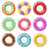Swim Rings. Swimming Inflatable Ring Colorful Buoy Pool Kids Float Inflatables Toys Beach Children L poster