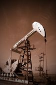 oil pump jack, tone sepia