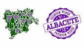 Vector Collage Of Grape Wine Map Of Albacete Province And Purple Grunge Stamp For Premium Wines Awar poster