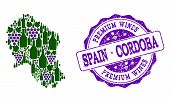 Vector Collage Of Grape Wine Map Of Cordoba Spanish Province And Purple Grunge Seal Stamp For Premiu poster