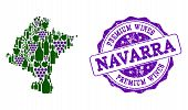 Vector Collage Of Grape Wine Map Of Navarra Province And Purple Grunge Stamp For Premium Wines Award poster