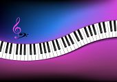 stock photo of g clef  - Blue And Pink Background Curved Piano Keyboard - JPG