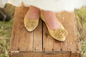 picture of wooden crate  - Darling mustard yellow shoes for a bride - JPG