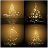 set of Christmas banners / cards with hand made calligraphic writing