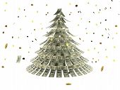 Christmas Tree Made By Dollars With Coin As Snow