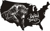 Grizzly Bear And U.s. Outline Map