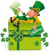 stock photo of x-files  - A cheerful leprechaun holding a green beer on a gift box