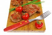spicy meat on wood with pepper and chives poster