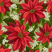 Wonderful seamless background with poinsettia