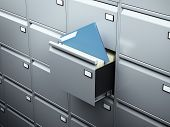 File cabinet with blue document
