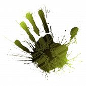 technologische green Splatter handprint