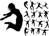 Some Silhouettes Of Jumping Girls And Boys