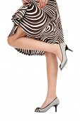 stock photo of peep toe  - Slim legs of woman in stylish peep - JPG
